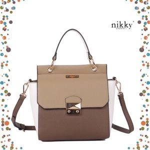 ● Criselda Satchel Nikki ●  Brown|Tan|White ●